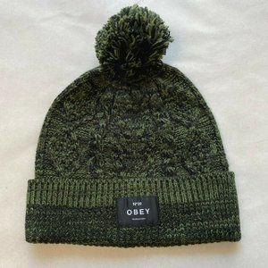 Obey Beanie Freja Cable Pom Pine Green/Black OSFM